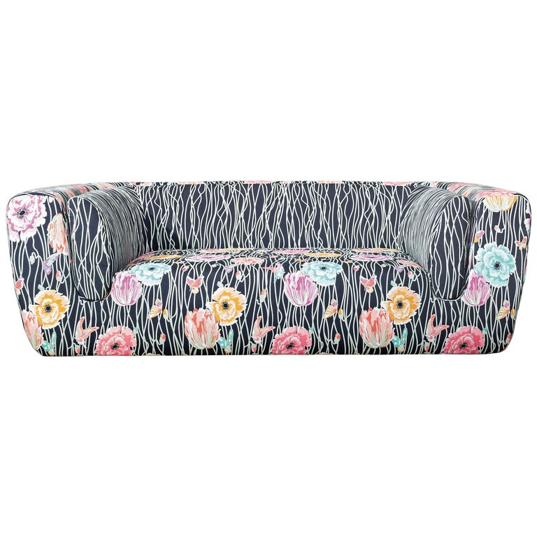 Missoni Home Inntil Two-Seat Sofa in Black with Multicolored Floral Pattern For Sale