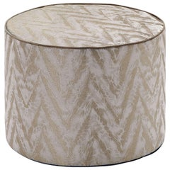Missoni Home Reunion Cyclinder Pouf in Tan with Chevron Pattern