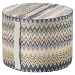 Missoni Home Masuleh Cylinder Pouf in Green and Beige with Chevron Pattern