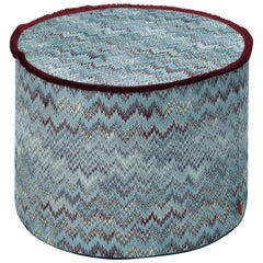 Missoni Home Thailand Cylinder Pouf in Blue with Wave Pattern and Cranberry Trim