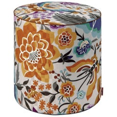 Missoni Home Samoa Tall Cylinder Pouf in Ivory w/ Orange and Blue Floral Pattern