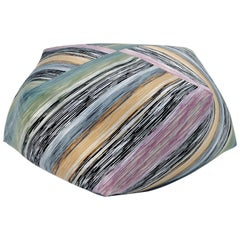 Missoni Home Strasburgo Diamante Pouf in Green and Purple with Patchwork Pattern