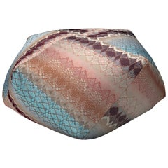 Missoni Home Tbilisi Diamante Pouf in Pink and Blue with Wave Pattern