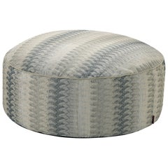 Missoni Home Remich Pallina Pouf in Blue and Gray with Lace-Inspired Print
