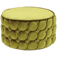 Missoni Home Velletri Cylinder Pouf in Green Velvet with Textured Base