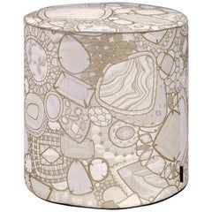 Missoni Home Pessac All Cylinder Pouf in Gold with Jewel Pattern