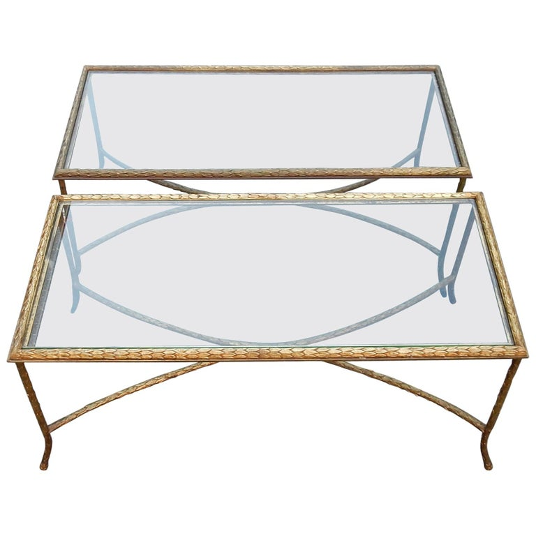 1950-1970 Pair of Coffee Table Maison Charles, Top in Glass