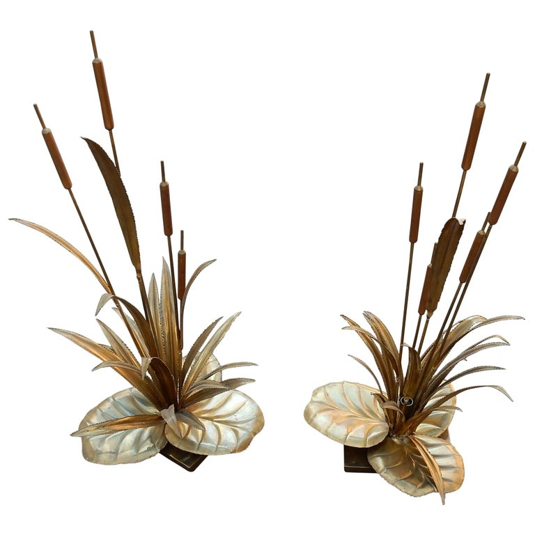 1970 'Pair of Lamps Reeds, Style Maison Jansen in Brass