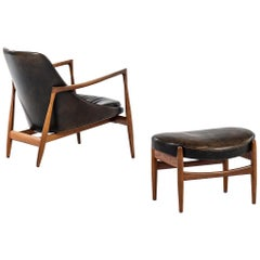 Ib Kofod-Larsen Elizabeth Easy Chair with Stool by Christensen & Larsen