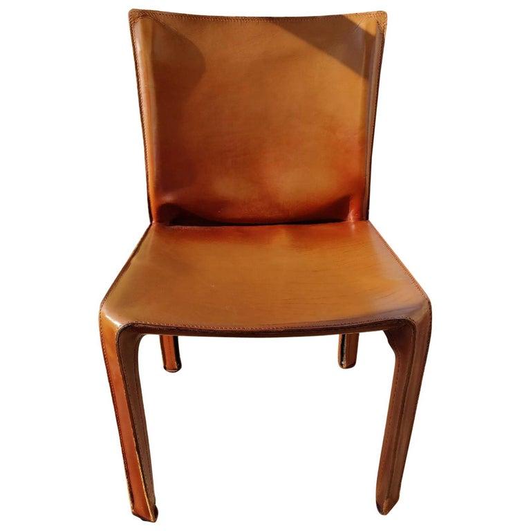 8 Cassina Cab Brown Leather Chairs Designer Mario Bellini
