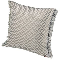 Missoni Home Stanford Cushion in Ivory & Silver w/ Chevron Print & Fringe Trim