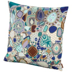 Missoni Home Prepignan Cushion in Multicolor Blue with Jewel Print