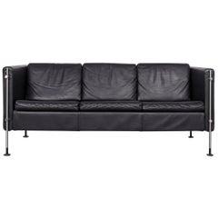 Arflex Felix Leather Sofa Black Three-Seat Chair