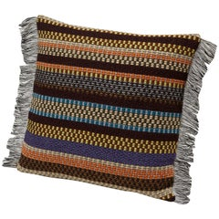 Missoni Home Volfango Cushion w/ Multi-Color Striped Pattern & Gray Fringe Trim