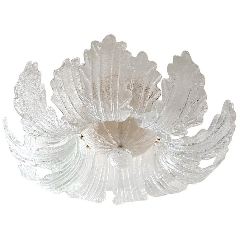 Mid-Century Modern Flush Mount Murano Glass Chandelier by Barovier
