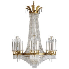 Russian Neoclassical Style Gilt Bronze and Crystal Chandelier