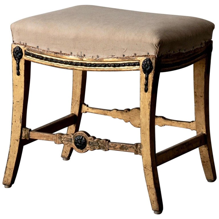 Stool Swedish Gilded with Green Details Neoclassical Sweden