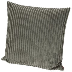 Missoni Home Rabat Cushion in Solid Green Striped Velvet