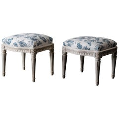 Stools Pair of Swedish White and Blue Gustavian 18th Century Sweden
