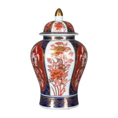 Imari Baluster Spice Jar, Porcelain Vase with Lid, Late 20th Century