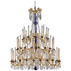 Baltic Neoclassical Russian Gilt Bronze, Cobalt and Crystal Chandelier