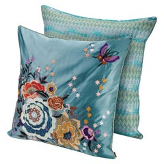Missoni Home Silves Cushion Set in Multi-Color and Blue w/ Chevron Floral Design