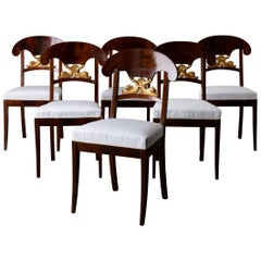 Dining Chairs Swedish Set of 6 Empire Mahogany Gilded Sweden