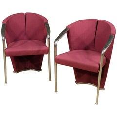 20th Century Purple Fabric and Aluminium Italian Design Pair of Armchairs, 1980