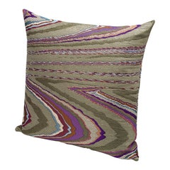 Missoni Home Vallauris Cushion in Jacquard Fabric w/ Multicolor Macro Slub Print
