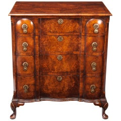 Antique Walnut Queen Anne Style Shaped Front Chest of Drawers