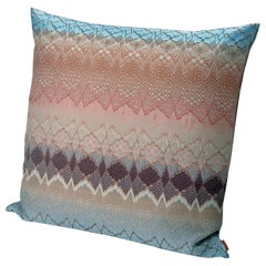 Missoni Home Tbilisi Jacquard Cushion in Multi-Color Pink and Blue Wave Pattern