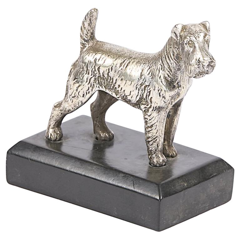 19th Century Silvered Bronze Sculpture of a Kerry Blue Terrier For Sale