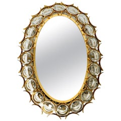 Oval Backlit 1960s Large Palwa Wall Mirror Heavy Brass Frame and Crystal Stones
