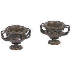 Early 19th Century Neoclassical Pair of Bronze Models of the Warwick Vase