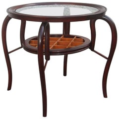 Mid-Century Modern Table Coffee Italian Design Walnut Woos Round Form