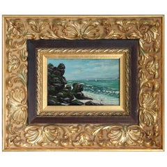 20th Century Oil Painting on Zinc Table Landscape of the Italian Coast