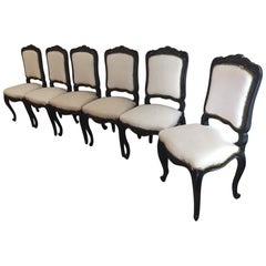 Italian Set of Six Carved Ebonized Chairs with Fabric from 1890s