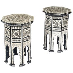 Vintage Pair of Inlaid Damascus Mother of Pearl Side Tables Mid-20th Century