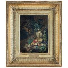 Rousseau Philippe Oil on Panel Blue Iris Bouquet Mid-19th Century