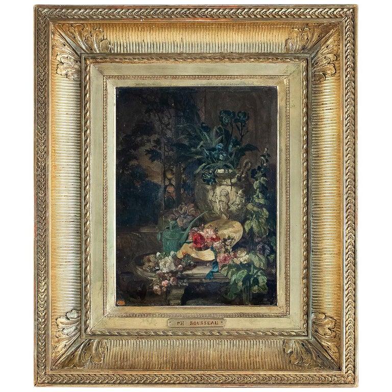 Rousseau Philippe Oil on Panel Blue Iris Bouquet Mid-19th Century For Sale