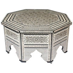 Vintage Inlaid Damascus Mother-of-Pearl Coffee Table, Mid-20th Century
