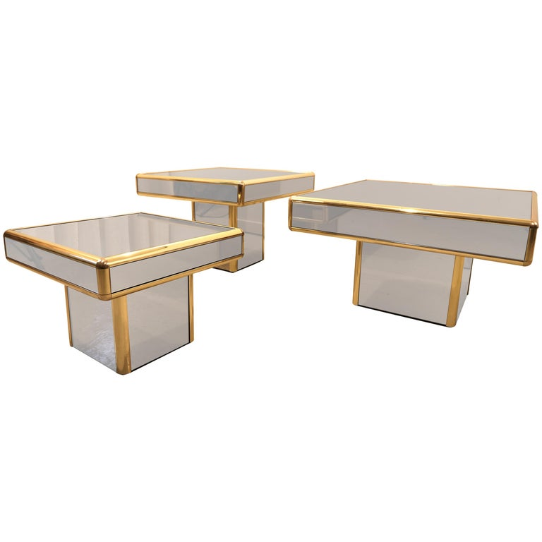 Set of Three Italian Mirrored Glass Side Coffee or Cocktail Table