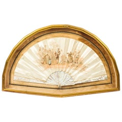 Antique French Framed Silk and Mother-of-Pearl Fan, 19th Century