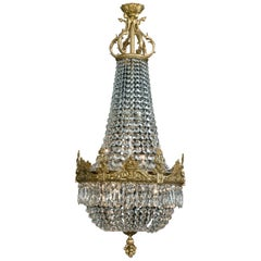 Cut-Glass Tent and Bag Chandelier with Finely Cast Entwined Dolphins, circa 1900