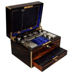 Superb Quality 19th Century Coromandel and Brass Bound Travelling Vanity Box
