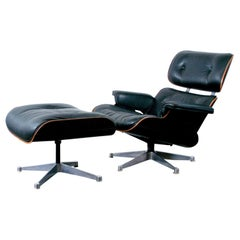 Herman Miller Rosewood and Black Leather Eames Lounge Chair and Ottoman