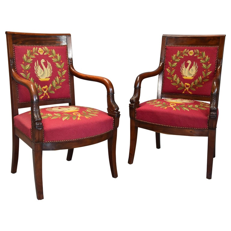 Pair of 19th Century French Empire Mahogany Fauteuils or Open Armchairs