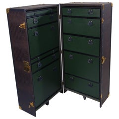 Wardrobe Trunk Coated with Imitation Crocodile Leather