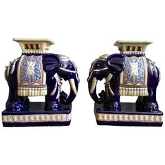 Pair of Oriental Elephant Stools or Drinking Tables from the 1970s
