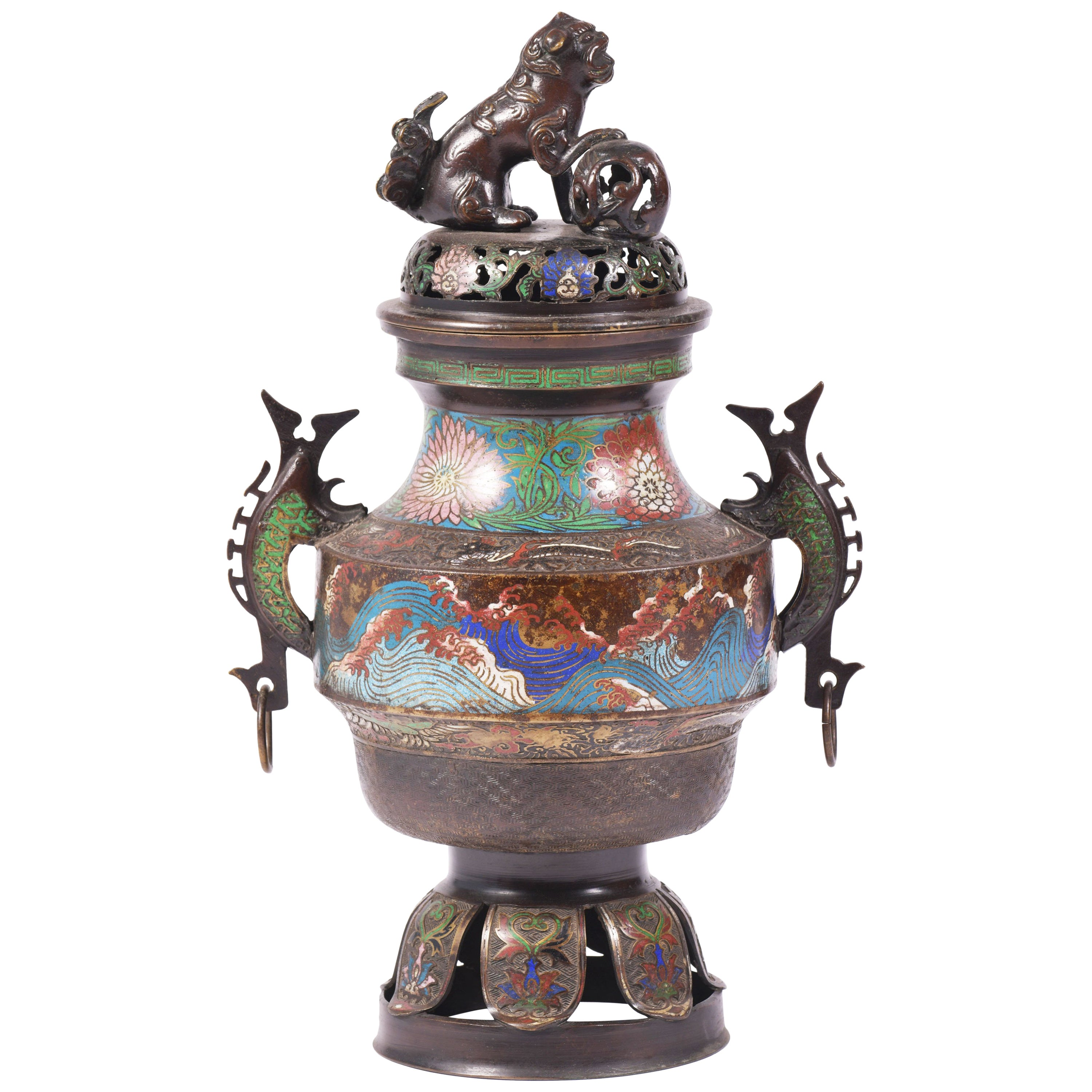 Mid-20th Century Chinese Archaistic Style Enameled Bronze Censer